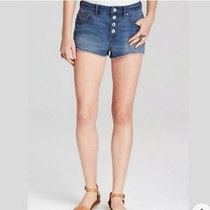 Free People Rugged Ripped Jean Shorts Button Fly